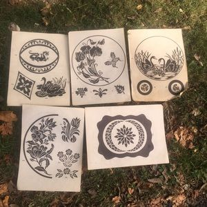 Vintage Etching Designs Swan Dragon Flowers  Trees